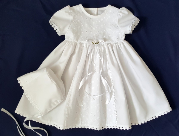 Taufkleid Festkleid mit Mütze, Baby*Mädchen, Gr. 56, 62, 68, 74, 80, 86