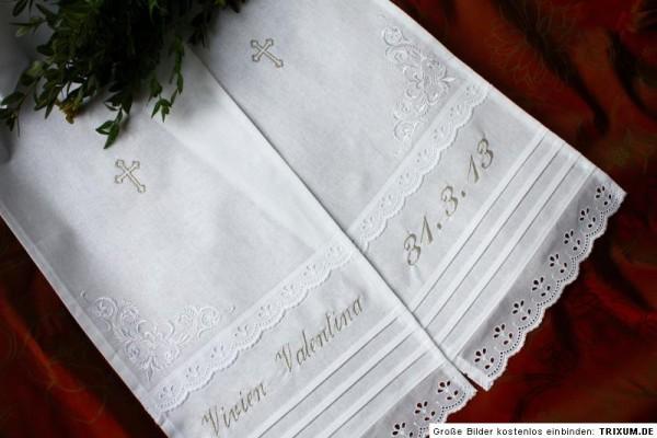 Taufschal mit Stickerei + Name, weiss, Baumwolle, Taufkleid